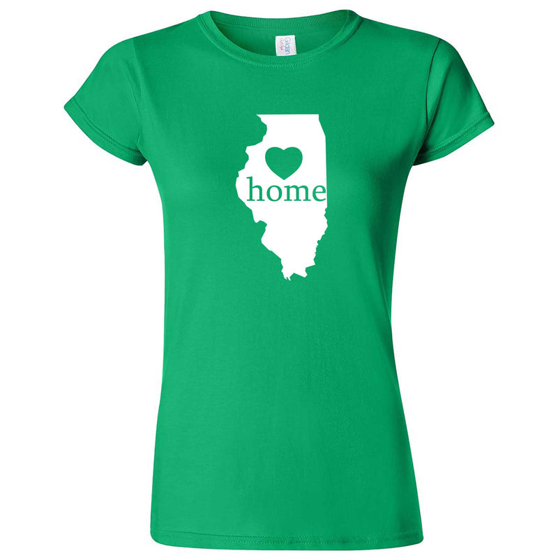 """Illinois Home State Pride, Pink"" women's t-shirt Irish Green"