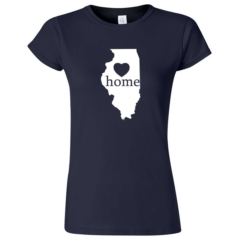 """Illinois Home State Pride, Pink"" women's t-shirt Navy Blue"