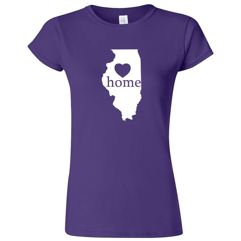"""Illinois Home State Pride, Pink"" women's t-shirt Purple"