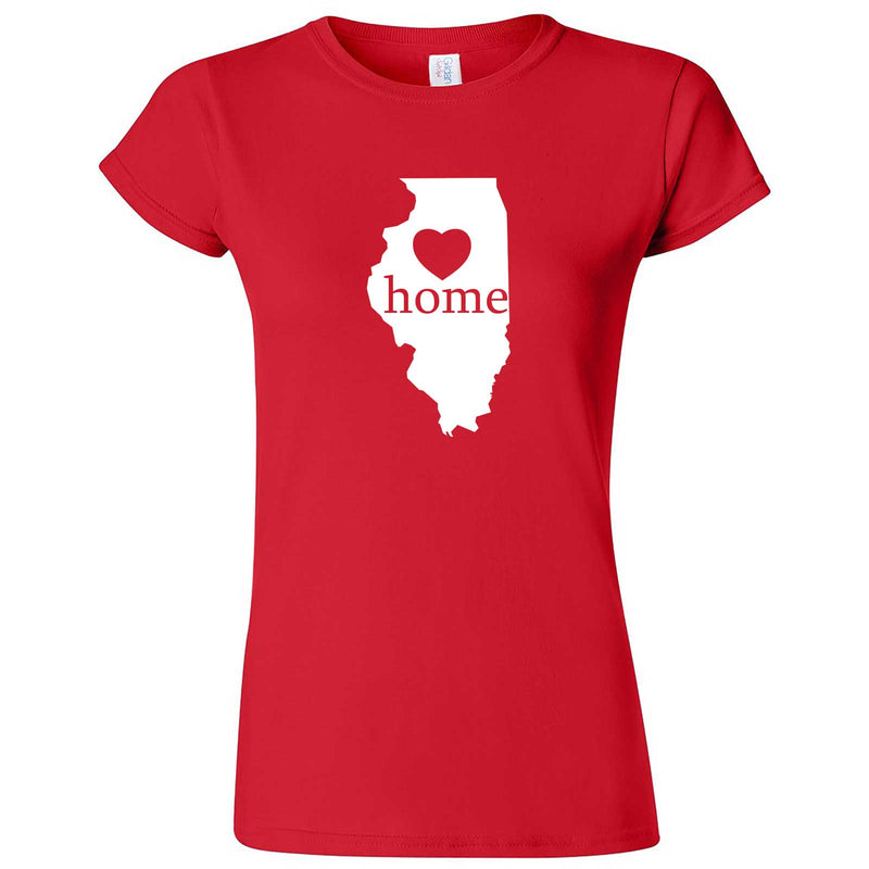 """Illinois Home State Pride, Pink"" women's t-shirt Red"
