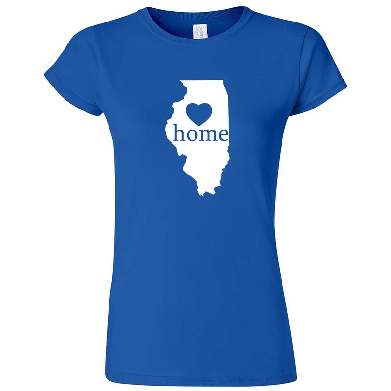 """Illinois Home State Pride, Pink"" women's t-shirt Royal Blue"