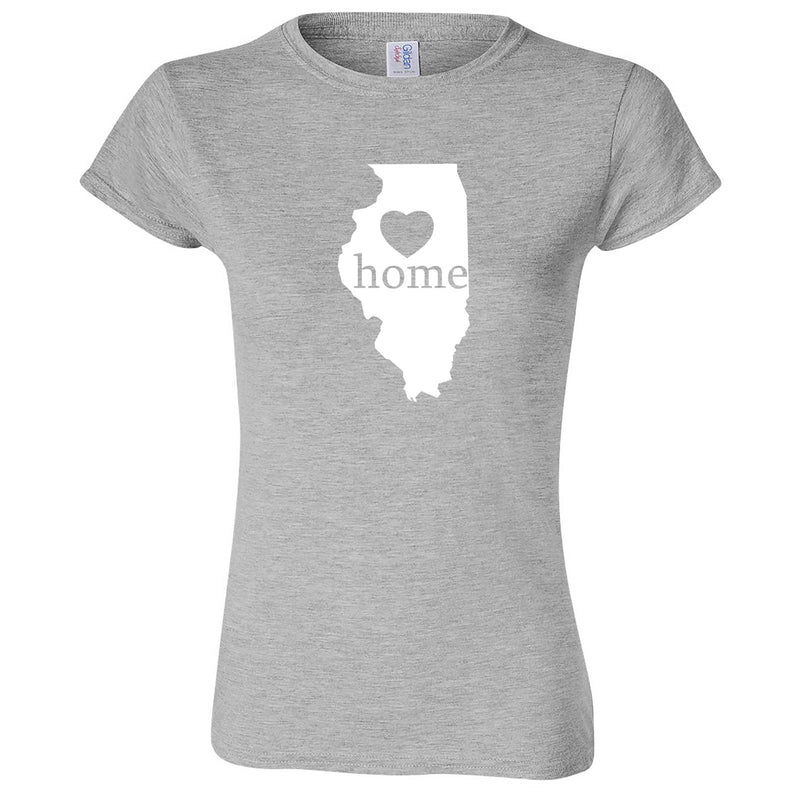 """Illinois Home State Pride, Pink"" women's t-shirt Sport Grey"