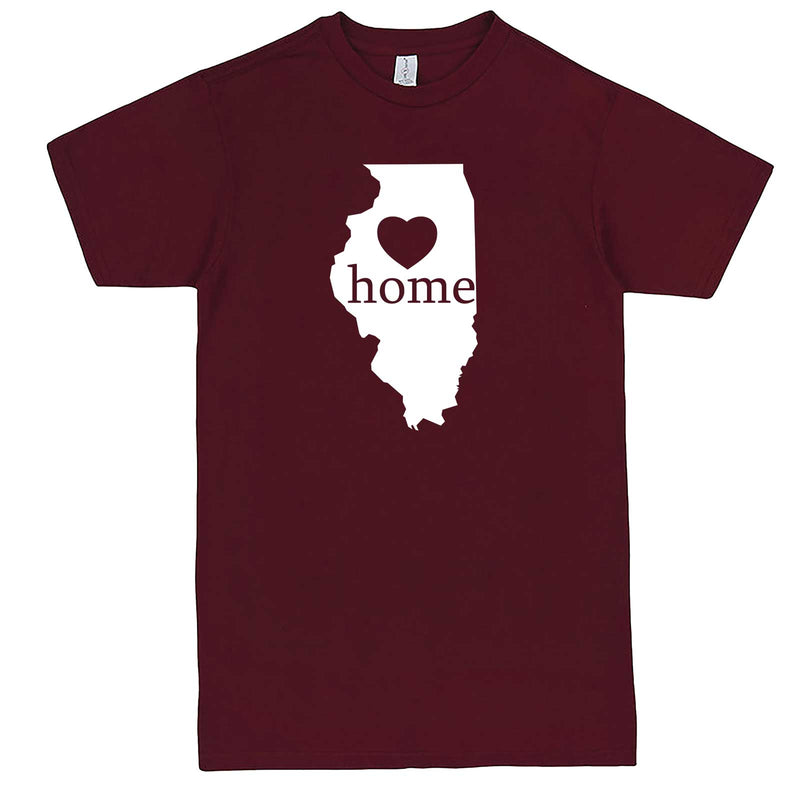 """Illinois Home State Pride, Pink"" men's t-shirt Burgundy"