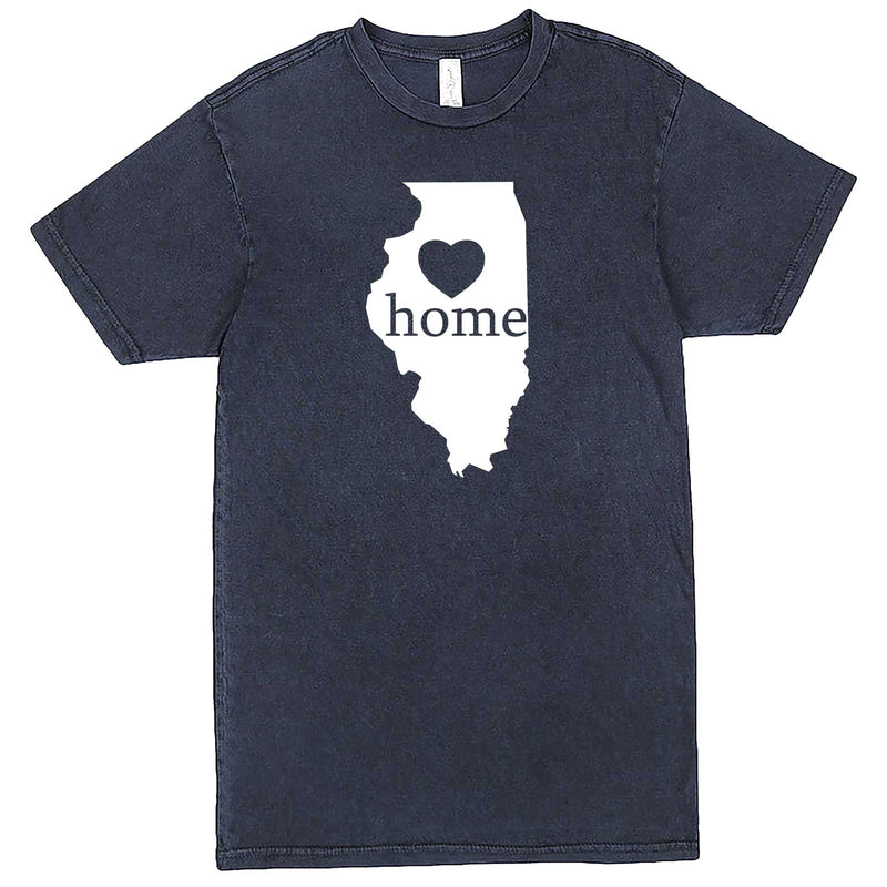 """Illinois Home State Pride, Pink"" men's t-shirt Vintage Denim"