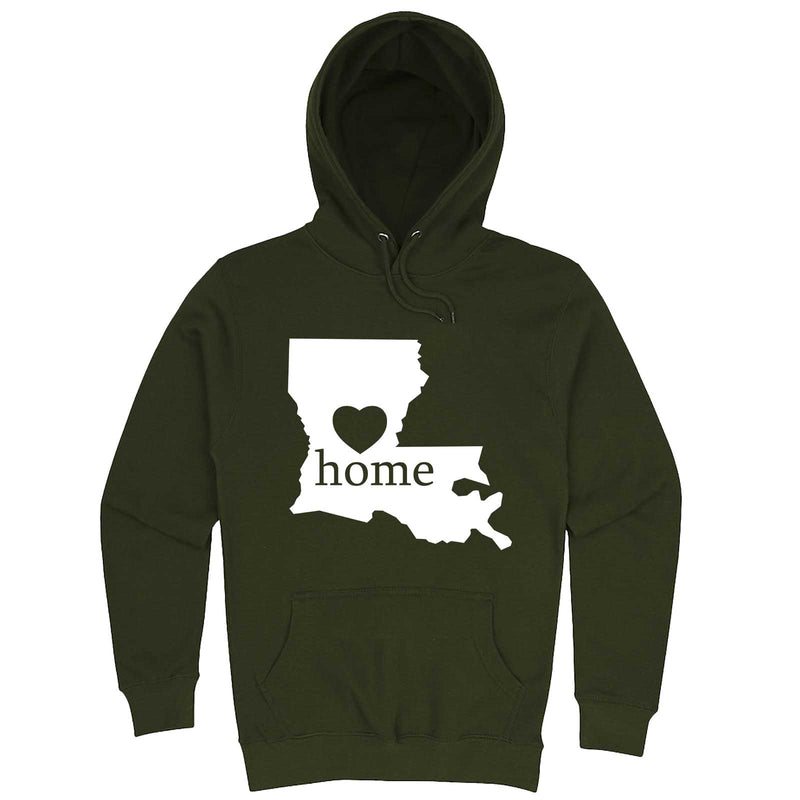 """Louisiana Home State Pride"" hoodie, 3XL, Army Green"