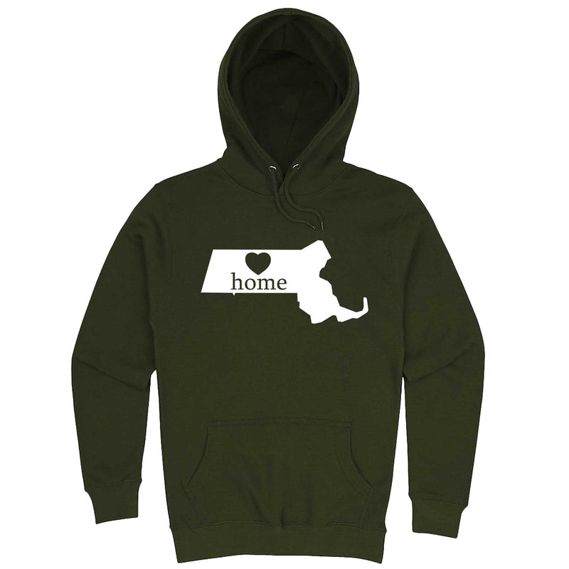 """Massachusetts Home State Pride"" hoodie, 3XL, Army Green"