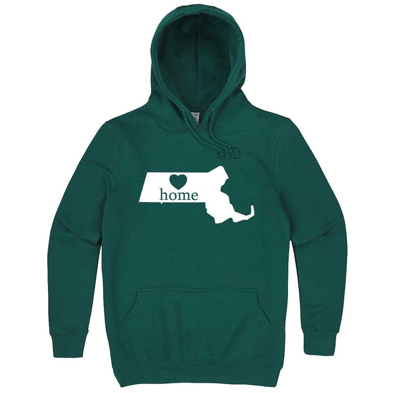 """Massachusetts Home State Pride"" hoodie, 3XL, Teal"