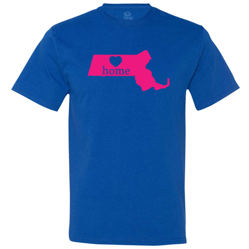 """Massachusetts Home State Pride, Pink"" men's t-shirt Royal-Blue"