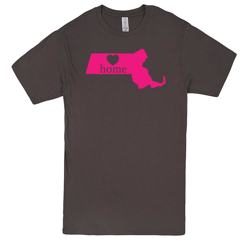 """Massachusetts Home State Pride, Pink"" men's t-shirt Charcoal"