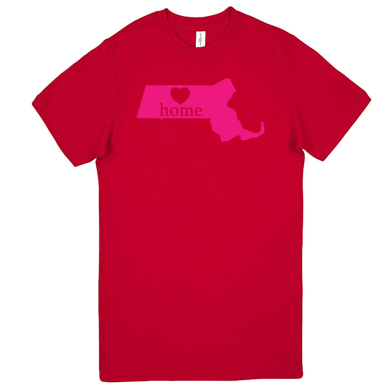 """Massachusetts Home State Pride, Pink"" men's t-shirt Red"