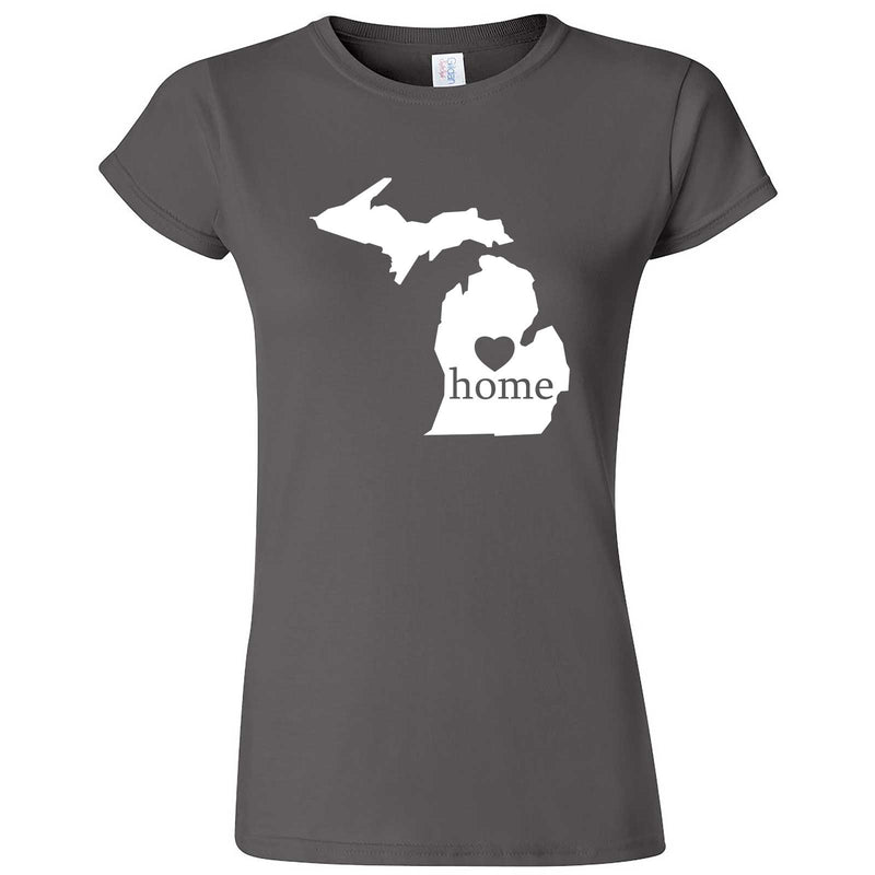 """Michigan Home State Pride"" women's t-shirt Charcoal"
