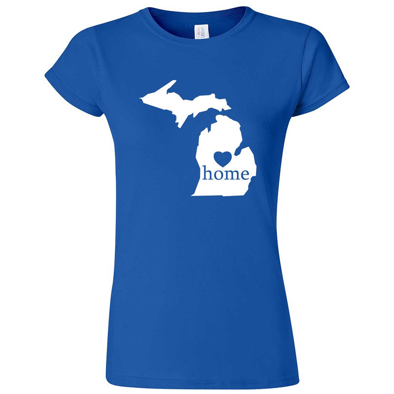 """Michigan Home State Pride"" women's t-shirt Royal Blue"