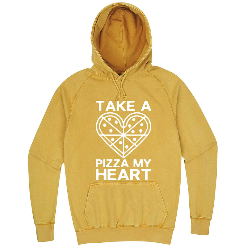 """Take a Pizza My Heart"" hoodie, 3XL, Vintage Mustard"