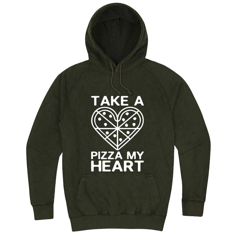"""Take a Pizza My Heart"" hoodie, 3XL, Vintage Olive"