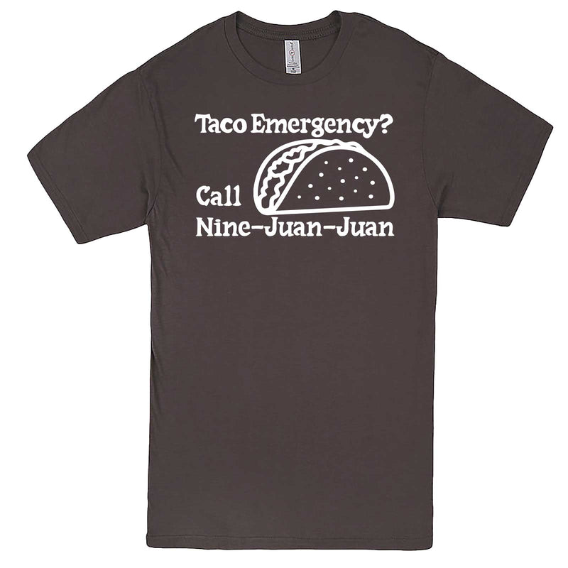 """Taco Emergency Call Nine-Juan-Juan"" men's t-shirt Charcoal"
