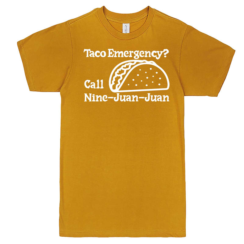 """Taco Emergency Call Nine-Juan-Juan"" men's t-shirt Mustard"