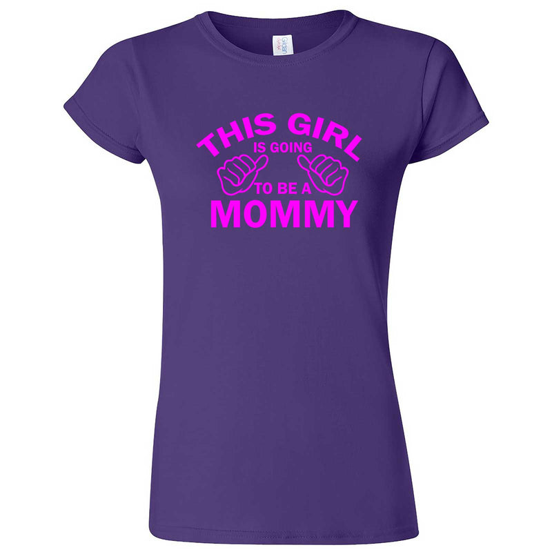 """This Girl is Going to Be a Mommy, Pink Text"" women's t-shirt Purple"