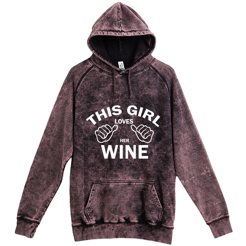 """This Girl Loves Her Wine, White Text"" hoodie, 3XL, Vintage Cloud Black"
