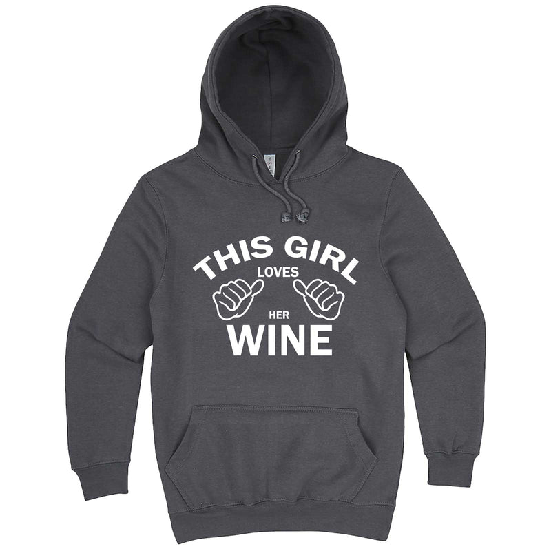 """This Girl Loves Her Wine, White Text"" hoodie, 3XL, Storm"