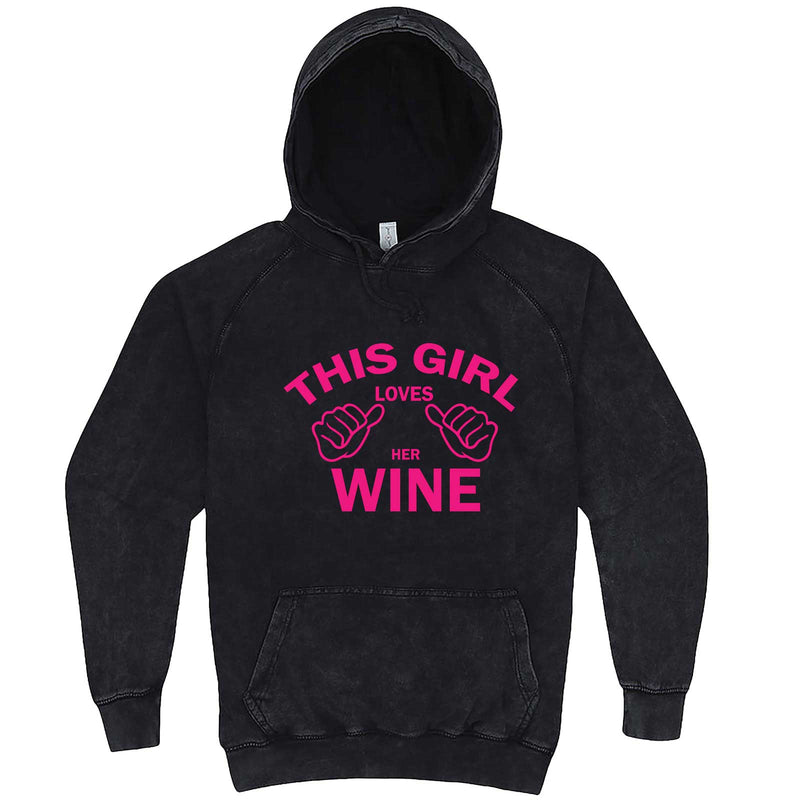 """This Girl Loves Her Wine, Pink Text"" hoodie, 3XL, Vintage Black"