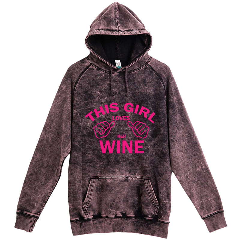 """This Girl Loves Her Wine, Pink Text"" hoodie, 3XL, Vintage Cloud Black"