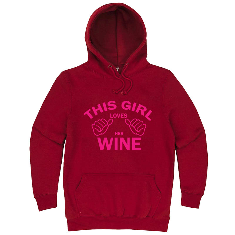 """This Girl Loves Her Wine, Pink Text"" hoodie, 3XL, Paprika"