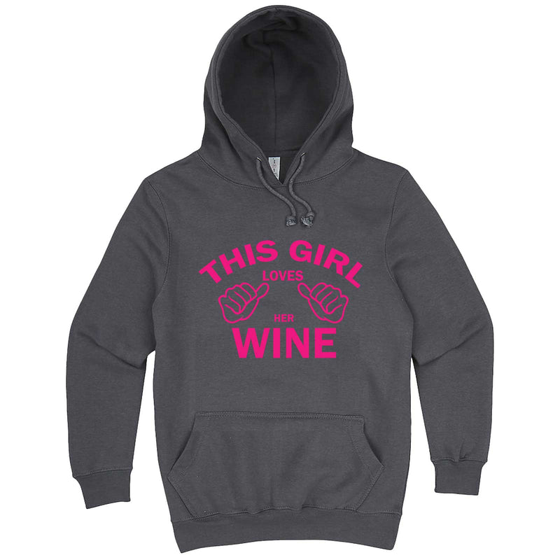 """This Girl Loves Her Wine, Pink Text"" hoodie, 3XL, Storm"