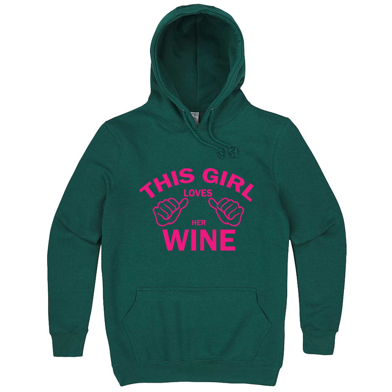 """This Girl Loves Her Wine, Pink Text"" hoodie, 3XL, Teal"