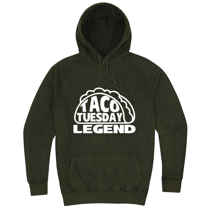 """Taco Tuesday Legend"" hoodie, 3XL, Vintage Olive"