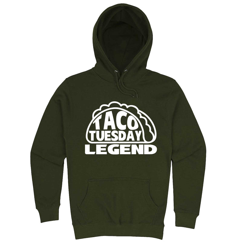 """Taco Tuesday Legend"" hoodie, 3XL, Army Green"
