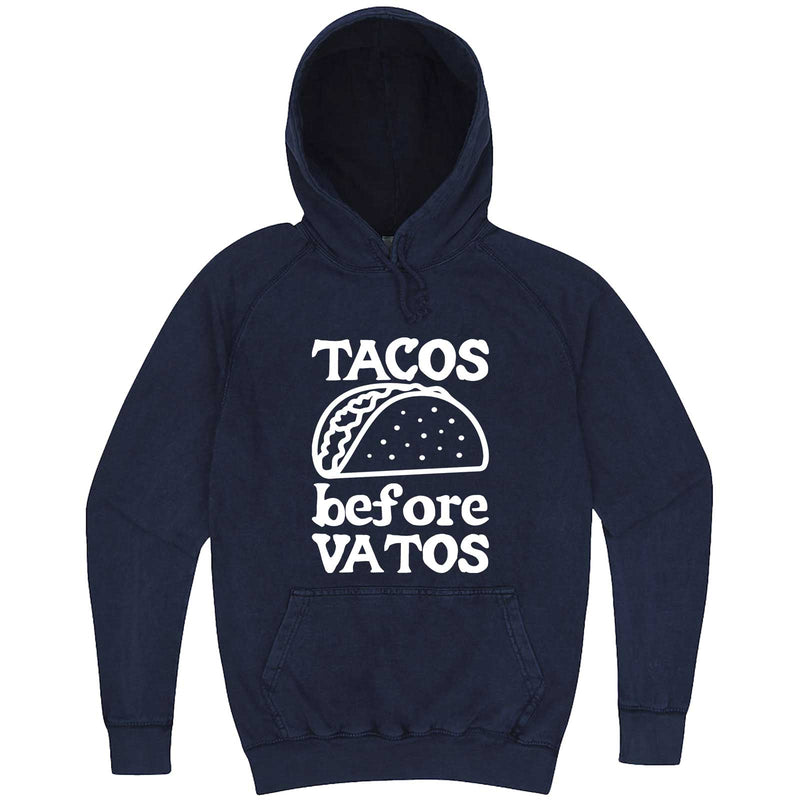 """Tacos Before Vatos"" hoodie, 3XL, Vintage Denim"