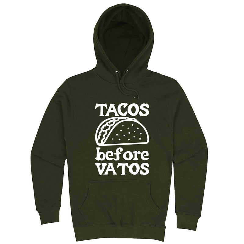 """Tacos Before Vatos"" hoodie, 3XL, Army Green"