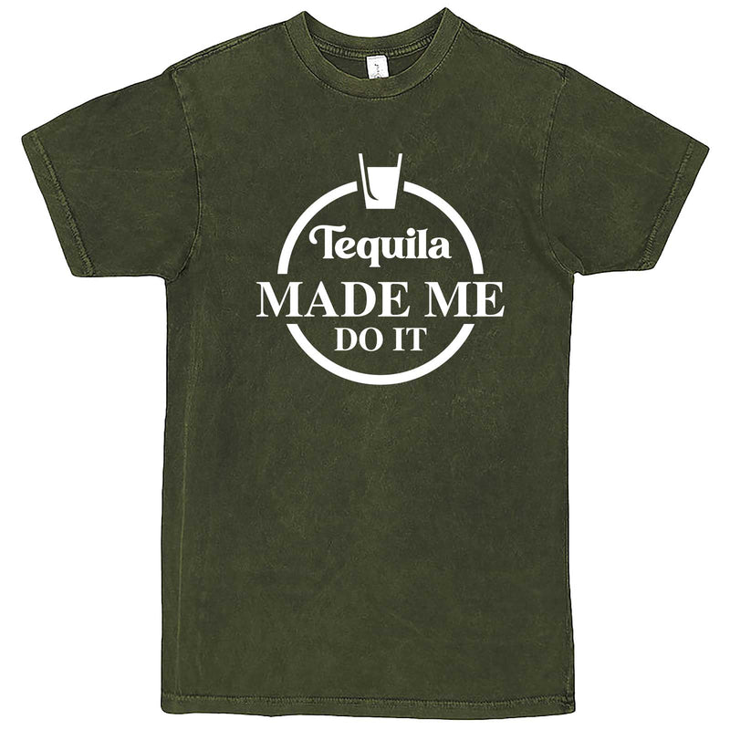 """Tequila Made Me Do It"" men's t-shirt Vintage Olive"