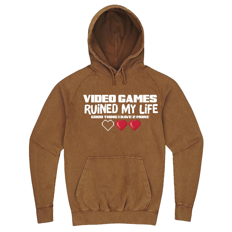 "Funny ""Video Games Ruined My Life (Good Thing I Have Two More)"" hoodie 3XL Vintage Camel"