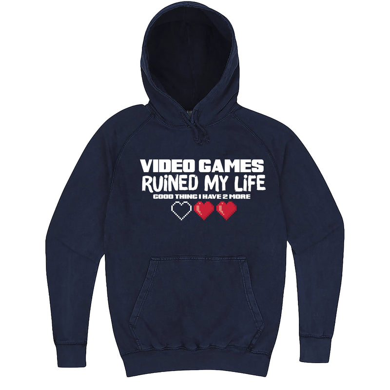 "Funny ""Video Games Ruined My Life (Good Thing I Have Two More)"" hoodie 3XL Vintage Denim"