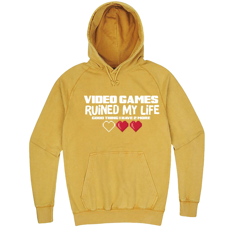 "Funny ""Video Games Ruined My Life (Good Thing I Have Two More)"" hoodie 3XL Vintage Mustard"