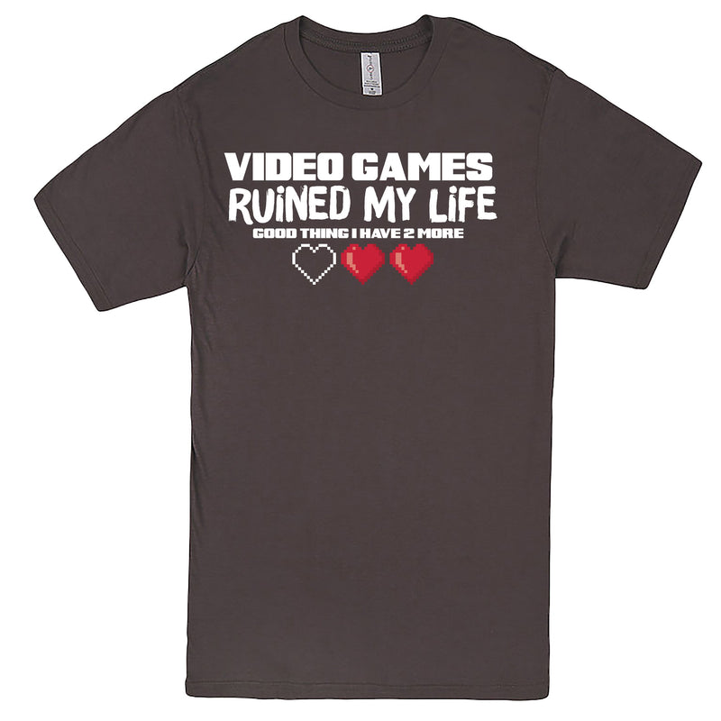 """Video Games Ruined My Life (Good Thing I Have Two More)"" Men's Shirt Charcoal"
