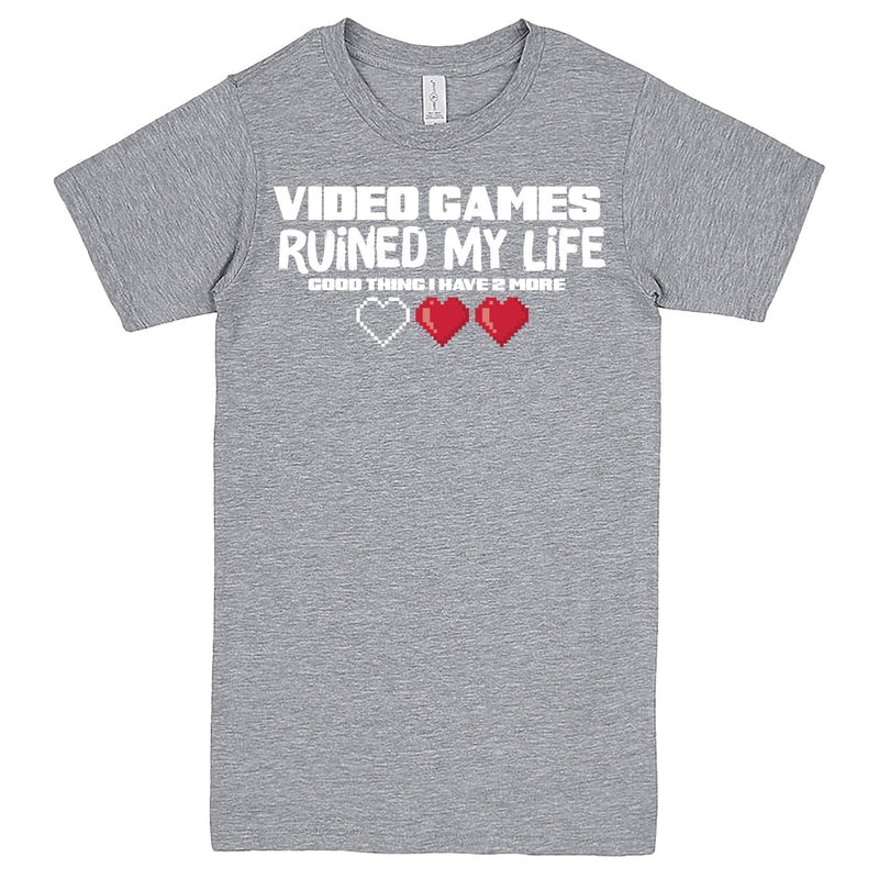 """Video Games Ruined My Life (Good Thing I Have Two More)"" Men's Shirt Heather-Grey"