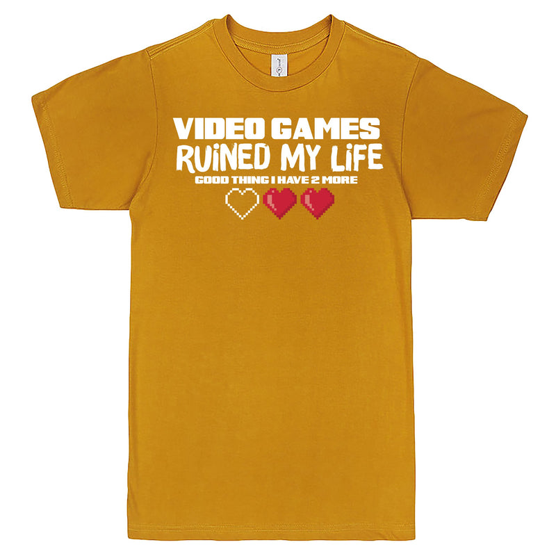 """Video Games Ruined My Life (Good Thing I Have Two More)"" Men's Shirt Mustard"
