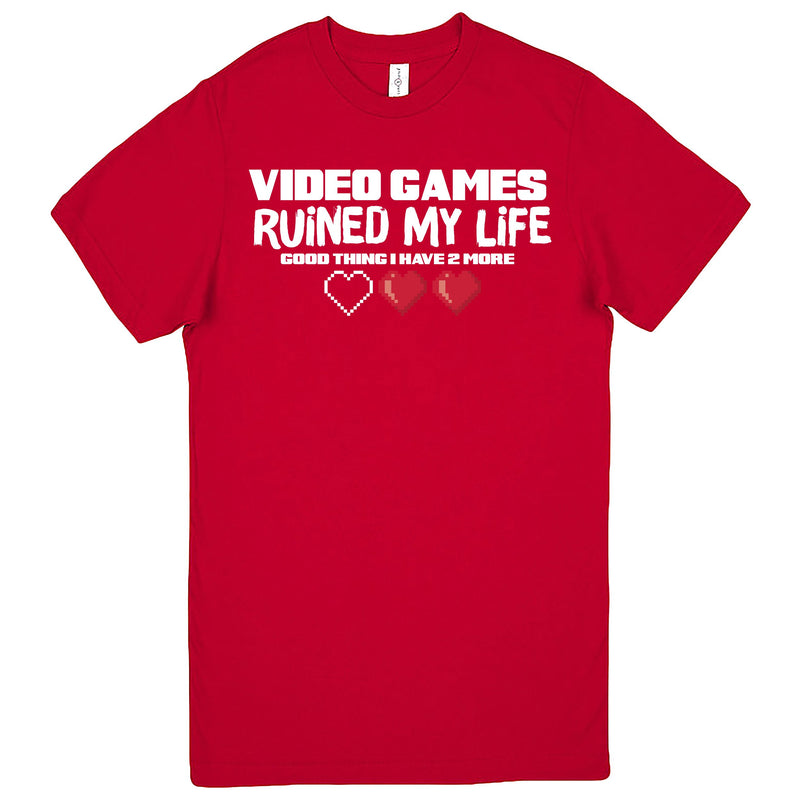 """Video Games Ruined My Life (Good Thing I Have Two More)"" Men's Shirt Red"