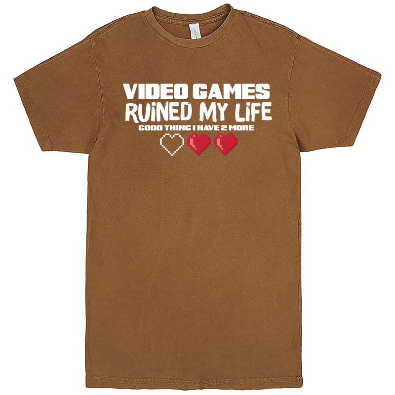"""Video Games Ruined My Life (Good Thing I Have Two More)"" Men's Shirt Vintage Camel"