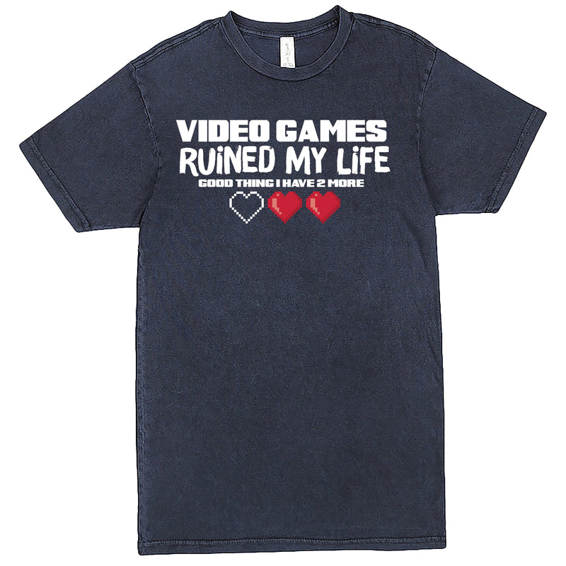 """Video Games Ruined My Life (Good Thing I Have Two More)"" Men's Shirt Vintage Denim"