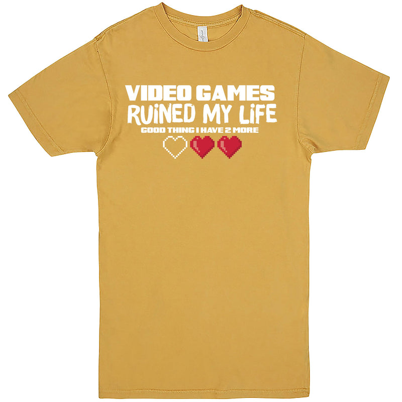 """Video Games Ruined My Life (Good Thing I Have Two More)"" Men's Shirt Vintage Mustard"