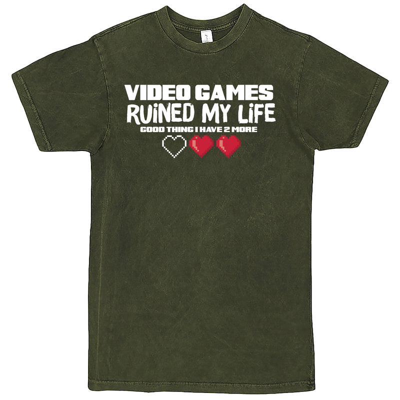 """Video Games Ruined My Life (Good Thing I Have Two More)"" Men's Shirt Vintage Olive"