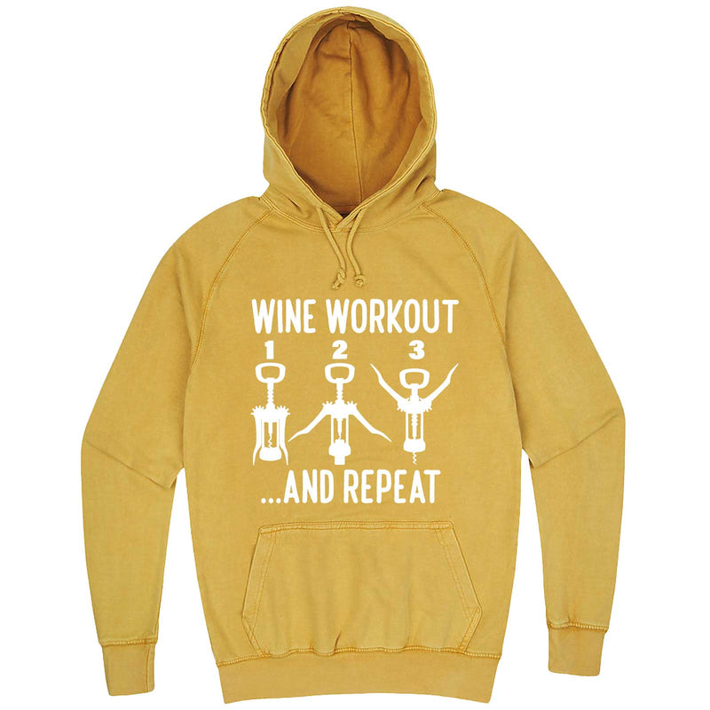 """Wine Workout: 1 2 3 Repeat"" hoodie, 3XL, Vintage Mustard"