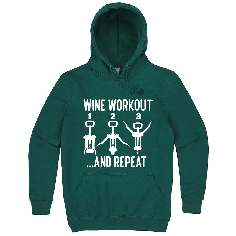 """Wine Workout: 1 2 3 Repeat"" hoodie, 3XL, Teal"