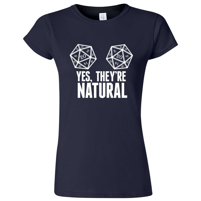 """Yes They're Natural"" women's t-shirt Navy Blue"