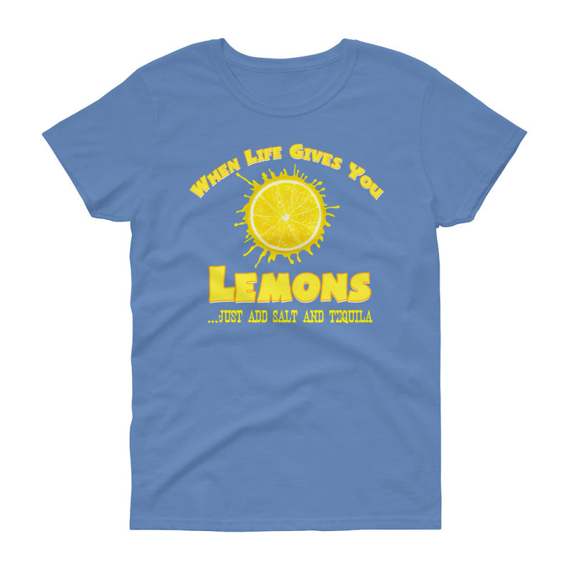 "Minty Tees ""When Life Gives You Lemons, I Hope It Also Gives You Salt And Tequila"" Women's Short Sleeve T-Shirt"