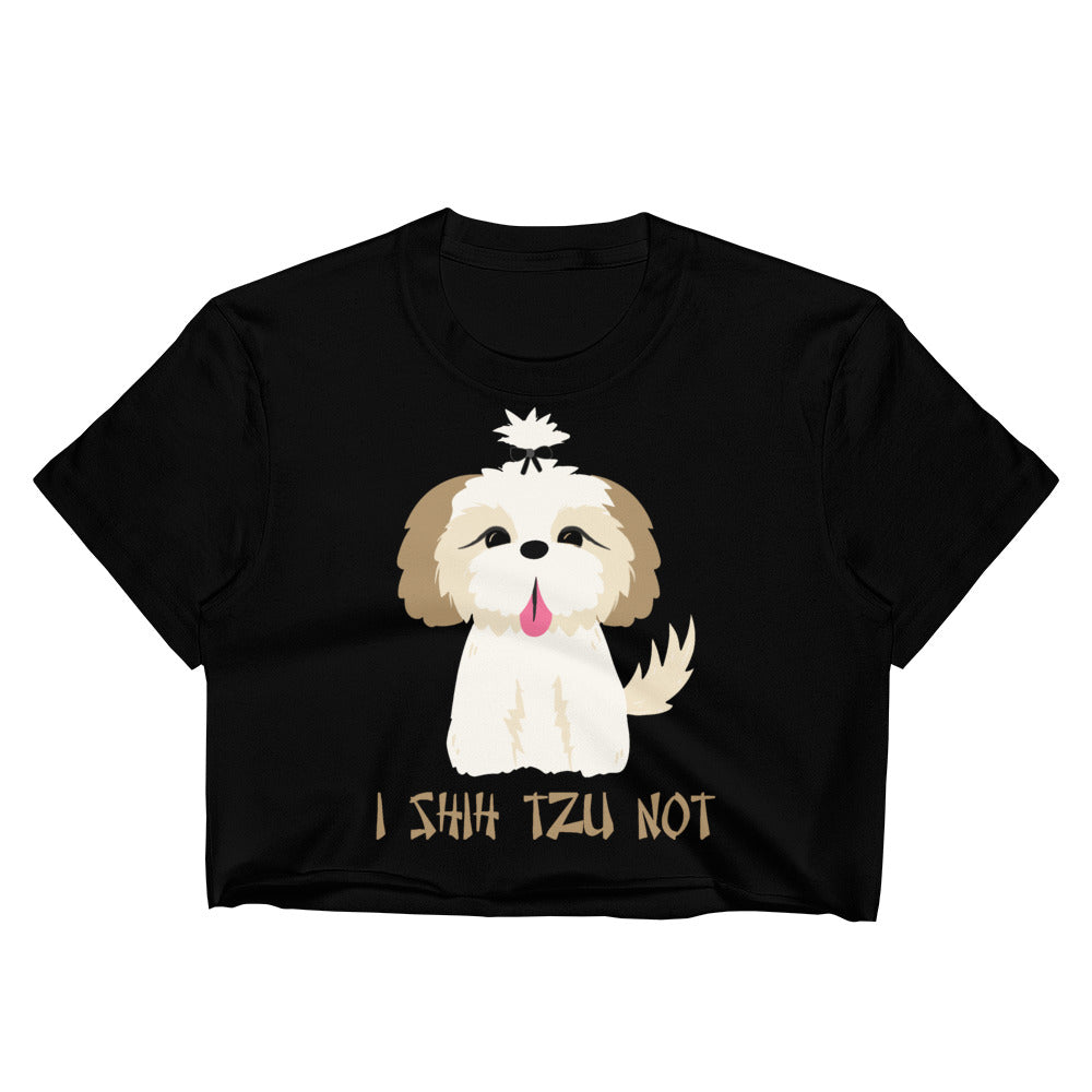 "Minty Tees ""I Shih Tzu Not"" Dog Inspired Women's Crop Top"