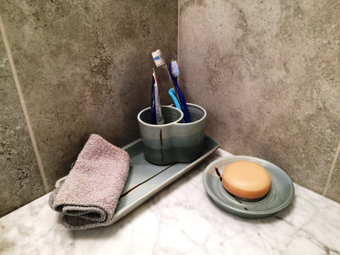 Ceramic Bath Set with Double Cup